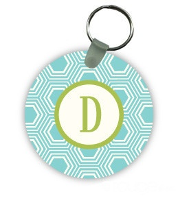 Monogram Key Ring - Honeycomb. Ever notice how many darn keys teachers have to lug around all day?! Let them do it in style with our new Monogram Key Rings. Tons of color & design options. {$17.95}. Great for end-of-year gifts for teachers, Sweet 16, & graduation (to hold new dorm room keys!).