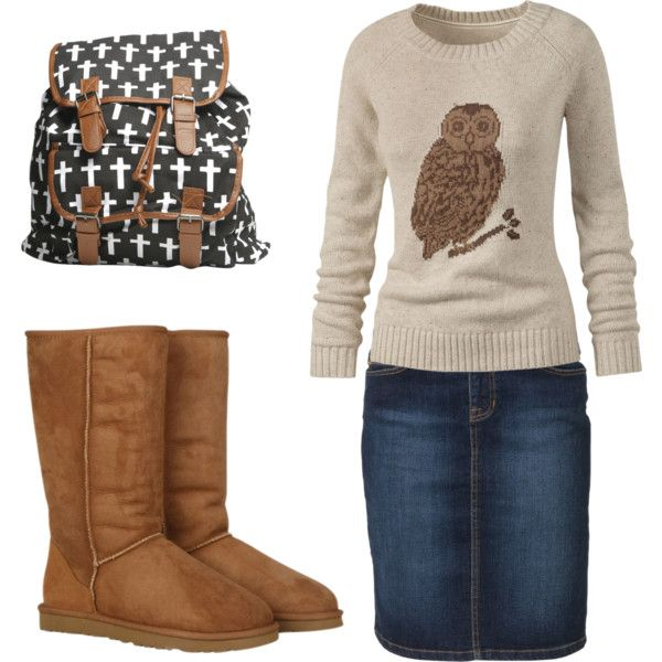 Jean skirt with an owl sweater; cute boots and a backpack for toting! #keepitmodest