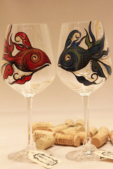 "Hand painted wine gass with fish, dr.suess red fish blue fish  Chelsi Lees Designs on ETSY    Also, please visit  ""Like"" Chelsi Lees Designs at: http://www.facebook.com/CLdesigns"