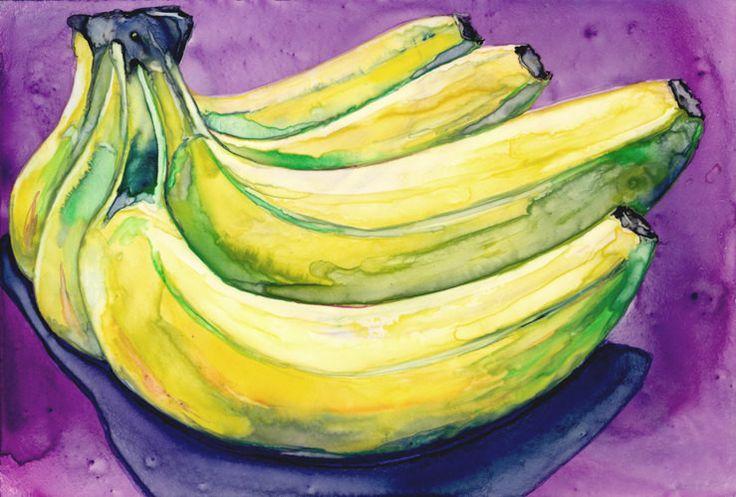 Still Life Watercolour Painting Banana Bunch Still