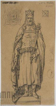 Król Kazimierz III Wielki, rysunek/szkic Jana Matejki