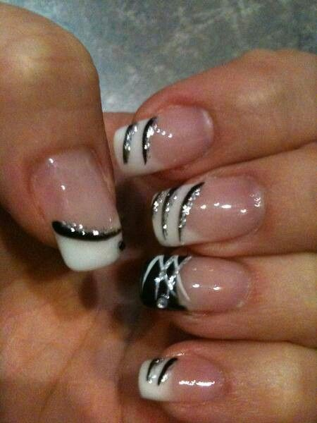 Black, white and silver acrylic nails art design