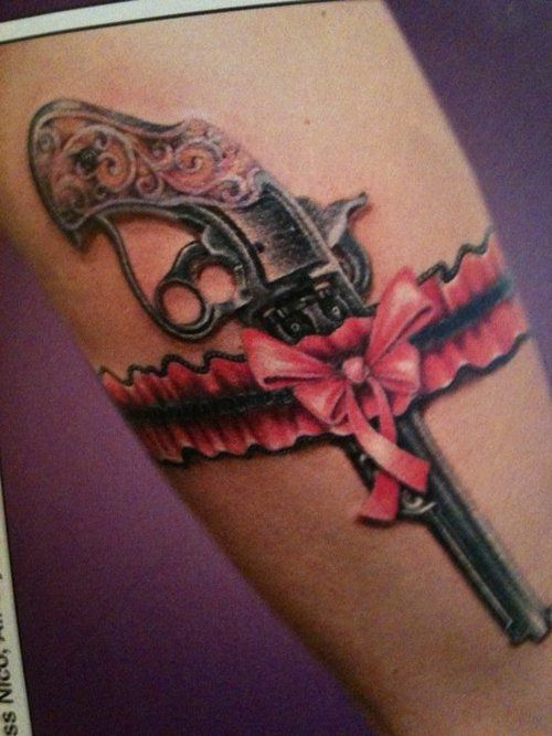 .: Tattoo Ideas, Garter Tattoo, Guns Tattoo, Thighs Tattoo, Legs Tattoo, Pink Bows, A Tattoo, Garter Belts, Revolvers Tattoo