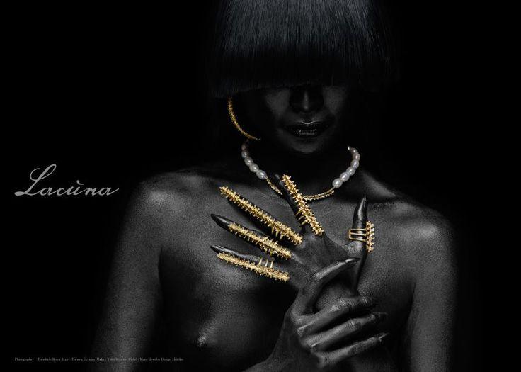 "New Jewelry Brand ""Lacuna"" Photographer : Tomohide Ikeya Hair & Make : Tomoya Shimizu Body Paint : Yoko Minami Model : Mami Jewelry Design : Kiriku"