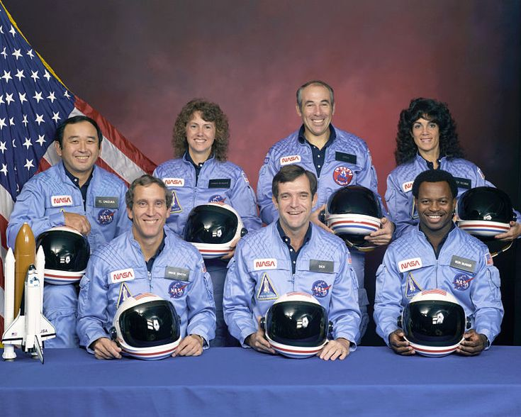Challenger Flight Crew who died 28 Jan 1986 when their craft broke apart 73 seconds into its flight. Greg Jarvis;   Christa McAuliffe, the first member of the Teacher in Space Project;   Ronald McNair;   Ellison Onizuka;   Judith Resnik;   Michael J. Smith; and  Dick Scobee