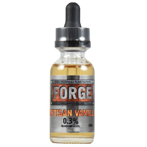 Forge Vapor eLiquids Artisan Vanilla - A perfect vape for tanks or drippers alike, our Artisan Vanilla is an exercise in quality vapecraft. It's a trusty and true vanilla flavor that doesn't vape oily or leave an unpleasant aftertaste, even with high heat.60% VG