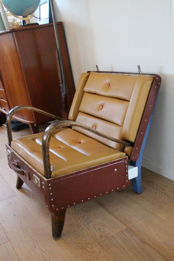 Suitcase chair gif - Upcycled Suitcase Chair Made From A 1920 S Lounge Chair A 1970 S Pilots Suitcase And Material
