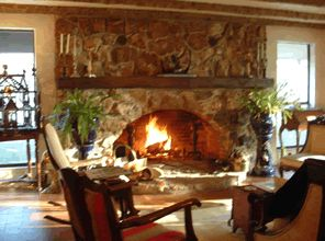 Lovely Oval Opening Rock Fireplace
