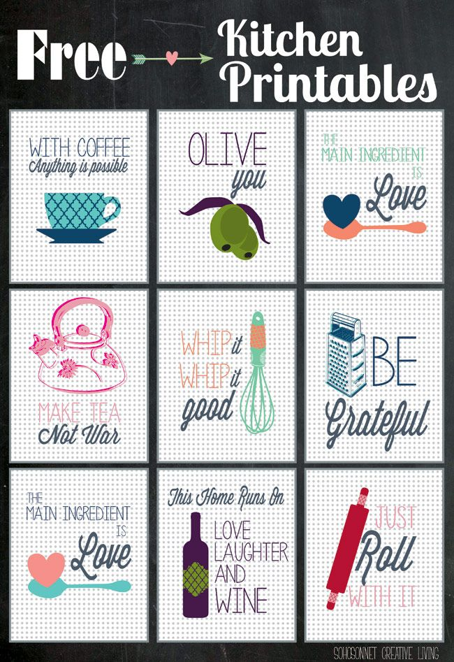 So Cute Free Kitchen Printables! from @SohoSonnet Creative Living for @Happy Housie