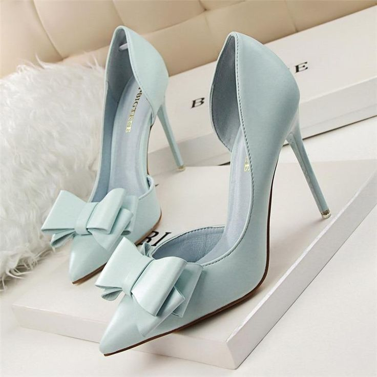 Sweet Bowknot High Heel Shoes Side Hollow Pointed Women Pump