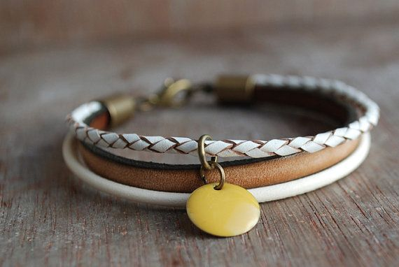 Honeycomb . Braided Leather Bracelet / Eco Friendly by picturing
