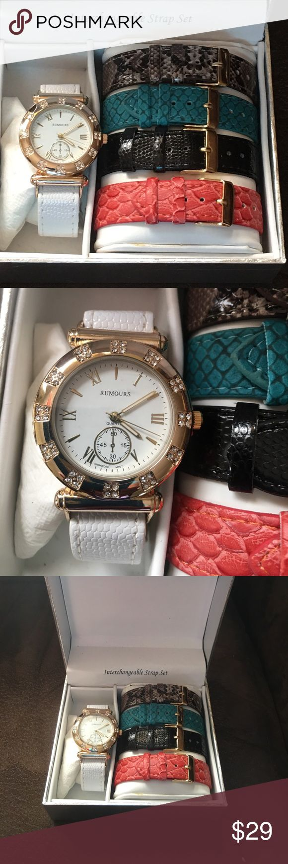 Rumors gold tone with rhinestone accents watch set Beautiful Rumors watch set comes with 5 interchangeable watch bands!! One white red, black,  turquoise, and a reptile brown print. Comes NIB PERFECT FOR CHRISTMAS GIFT GIVING.  needs battery. Rumors Accessories Watches