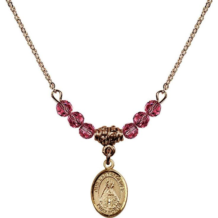 18-Inch Hamilton Gold Plated Necklace with 4mm Rose Pink October Birth Month Stone Beads and Our Lady of Olives Charm. 18-Inch Hamilton Gold Plated Necklace with 4mm Rose Birthstone Beads and Our Lady of Olives Charm. Pink Rose represents Pink Tourmaline, the Birthstone for October. Hand-Made in Rhode Island. Lifetime guarantee against tarnish and damage. Hamilton gold is a special alloy designed to have a rich and deep gold color.