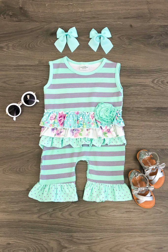 66df0ff41 Mint Stripe Floral Infant Romper | baby | Pinterest | Baby, Infant and Toddler  outfits