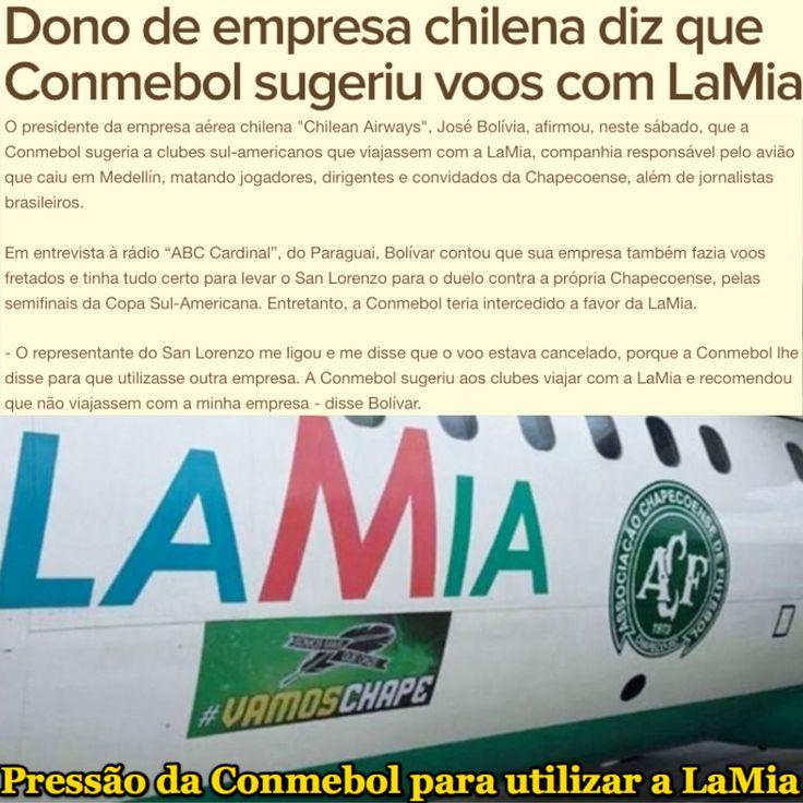 Pressão da Conmebol para utilizar a LaMia [Globo Esporte] http://globoesporte.globo.com/sc/futebol/times/chapecoense/noticia/2016/12/dono-de-empresa-chilena-diz-que-conmebol-sugeriu-voos-com-lamia.html ②⓪①⑥ ①② ⓪④