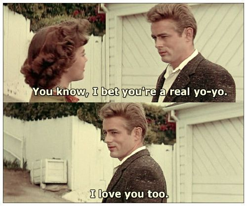 """James Dean and Natalie Wood in """"Rebel Without a Cause"""" .. love this part!"""