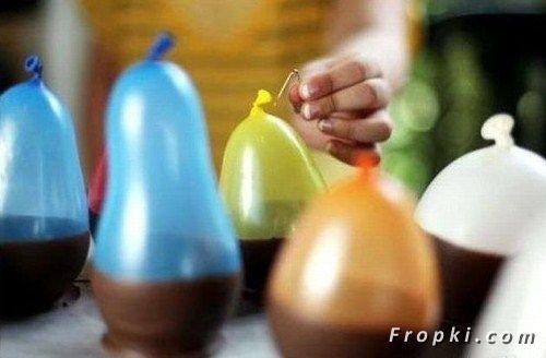 Schokoladenbecher  für Pudding cups mit Luftballon geformt Chocolate ice cream bowls made from balloons! super-babysitter