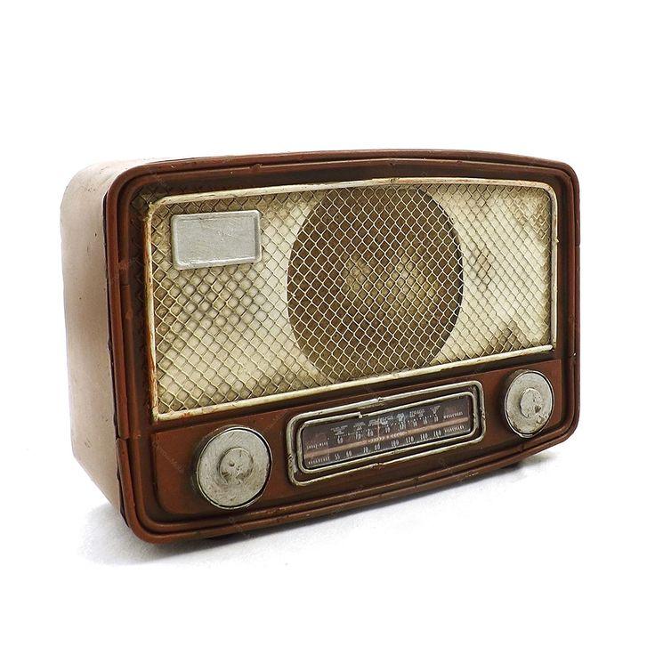 Cofre / Miniatura de Rádio Antigo - Em Metal - 23x15 cm | Carro de Mola - Decorar faz bem.