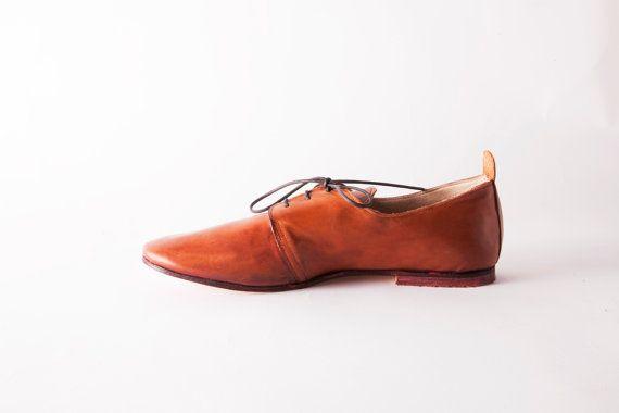 De Oxford schoenen Vrouwen lederen schoenen in Cognac bruin