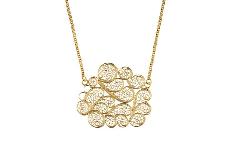 Cloud filigree necklace   Material: sterling silver, vermeil