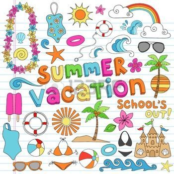ocean doodle: Summer Vacation Hawaiian Psychedelic Groovy Notebook Doodle Design Elements Set on Lined Sketchbook Paper Background - Vector Illustration Illustration