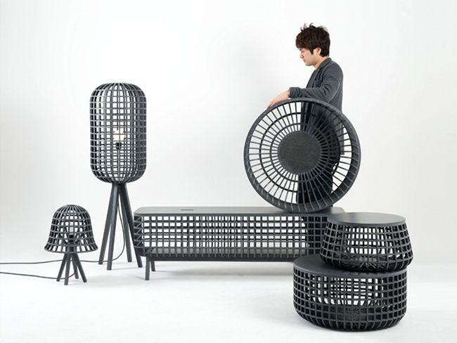 El coreano Seung Yong Song, diseñó una línea de mobiliario y objetos para el hogar inspirados en los cestos tradicionales que se usan en Asia.