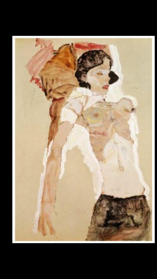 """Egon Schiele - """" Jeune femme demi nue allongée  """", 1911 - Crayon, gouache, aquarelle - 45,9 x 31,1 cm"""