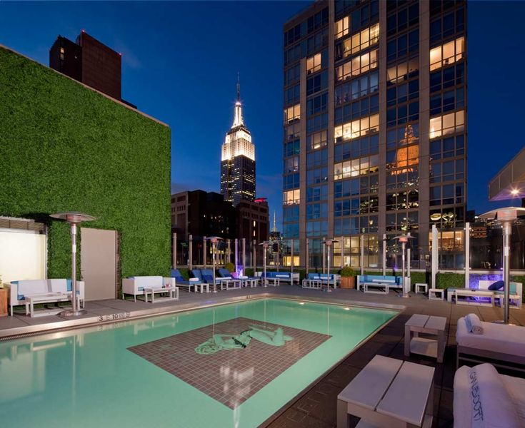 Unbelievable panoramas of the Empire State Building and the city skyline from the rooftop pool at Gansevoort Park Avenue in New York City