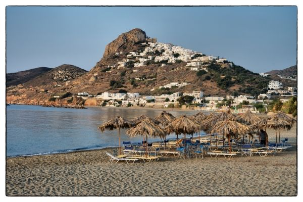 Lovely beach with view to Chora