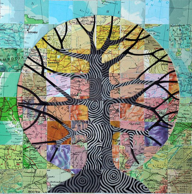 Map Tree    Mixed media collage with vintage atlas papers, 8x8 inches