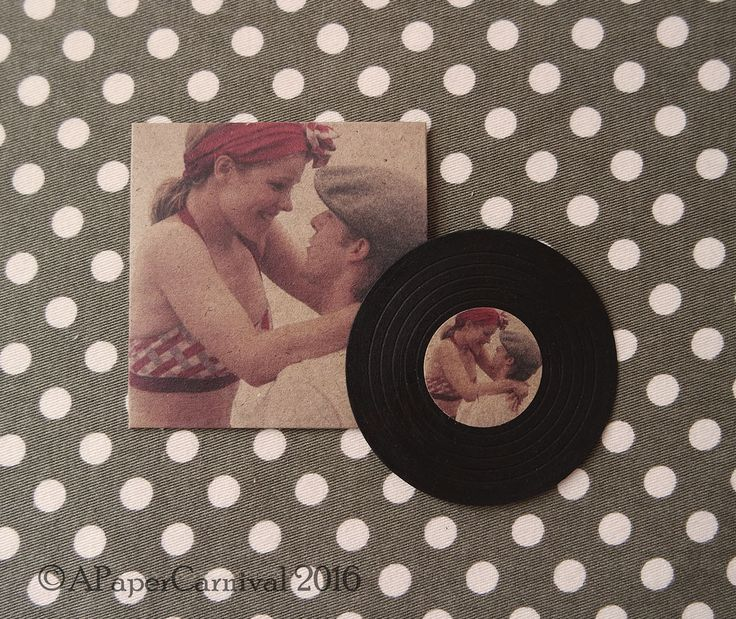 Handmade by Rachel Prout. A vintage record in a case wedding favour, which can be personalised to the couple with their own photo and thank you message on the back.