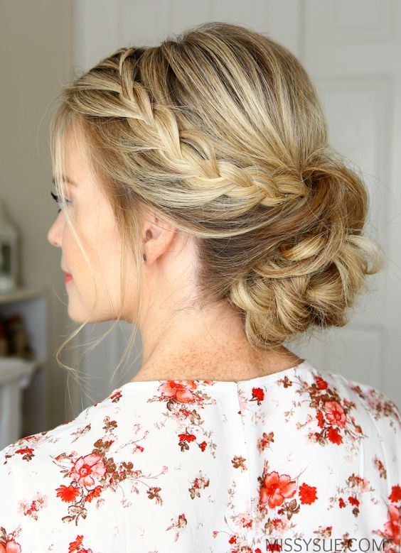 Double lace braided bun wedding hair inspiration #wedding #hair #hairstyle
