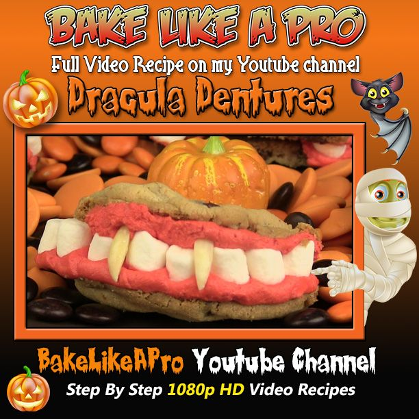 Dracula's Dentures - Halloween Cookies Recipe:Click the picture, it will take you to my full video recipe on my Youtube channel.      Please subscribe, like and share if you can, I do appreciate it. ► http://bit.ly/1ucapVH  #Halloween #ghosts #skeletons #goblins #baking #recipe #recipeshare #food #baking #love #dracula #cookies