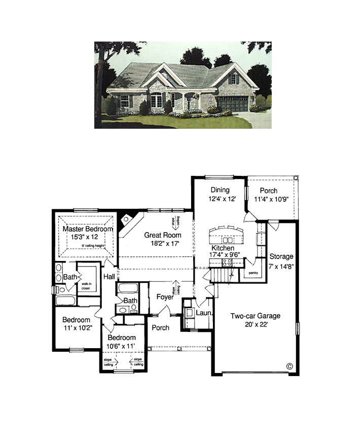 european ranch traditional house plan 97740 - 4 Bedroom House Plans One Story For 2 Acres