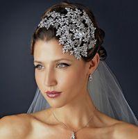 Роскошные ручной женщины серебряный цветок листьев Hairbands кристалл гребень свадьбы диадемы и коронки аксессуары для волос ювелирные изделия LHJ101