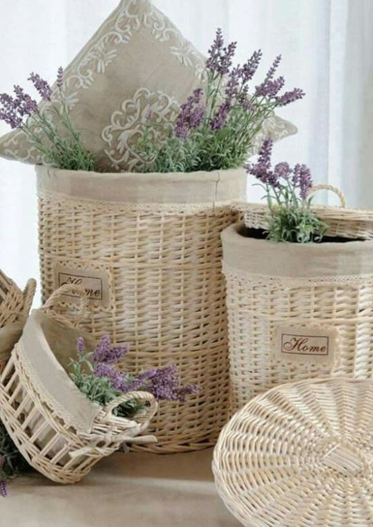 Cottage Charm ~ Baskets ~ White, cream, purple