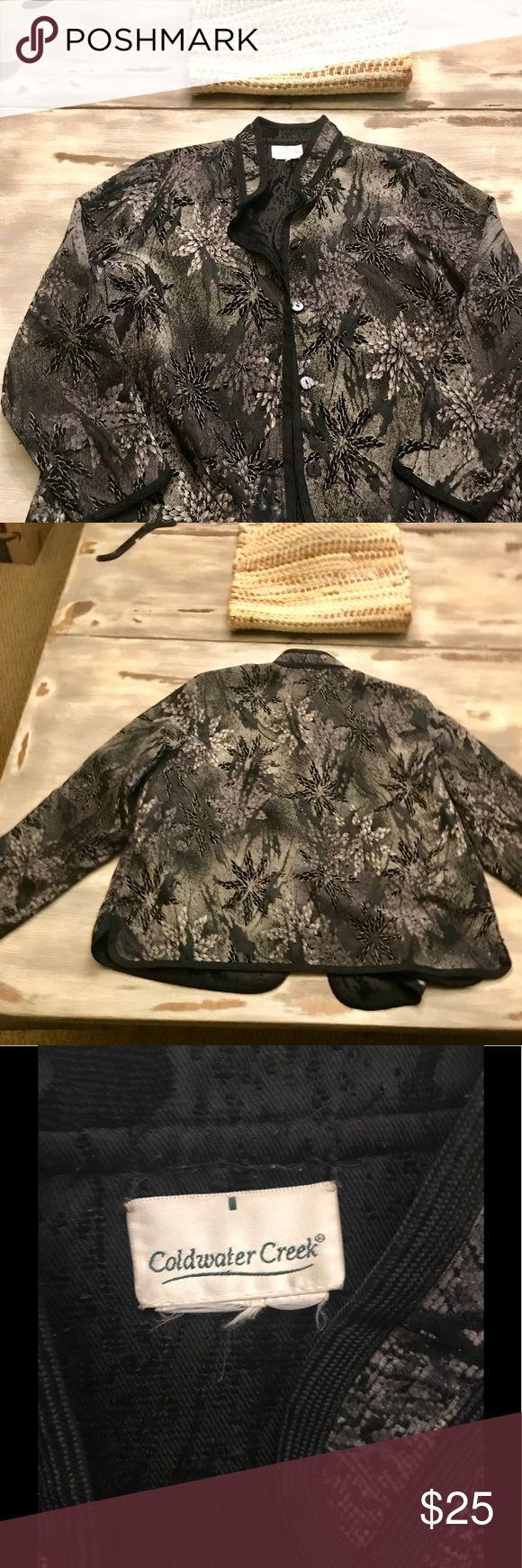NWOT ColdWater Creek Women's Brocade Coat Brand New Women's Coldwater Creek Dark Floral Brocade Button-Up Coat Coldwater Creek Jackets & Coats