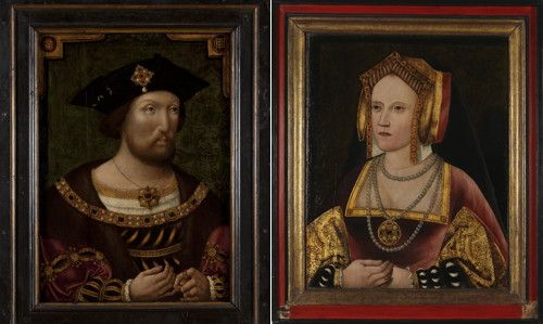 A previously unknown portrait of Catherine of Aragon (circa 1520) discovered by chance at Lambeth Palace has been put on display at the National Portrait Gallery, beside the circa 1520 portrait of her husband, Henry VIII.