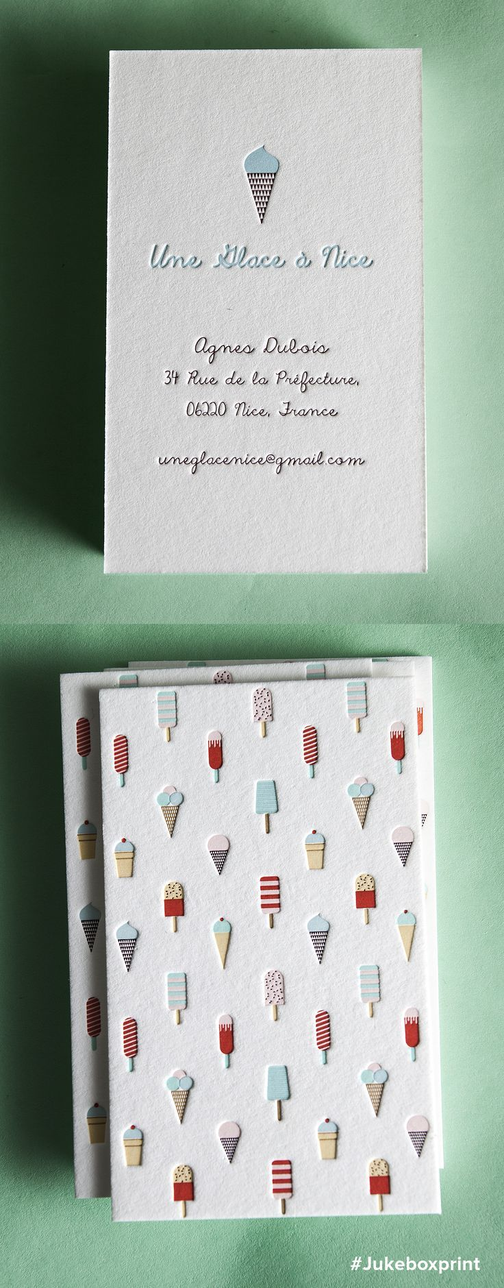 Cute Letterpress business cards produced with seven colors on 40pt cotton.