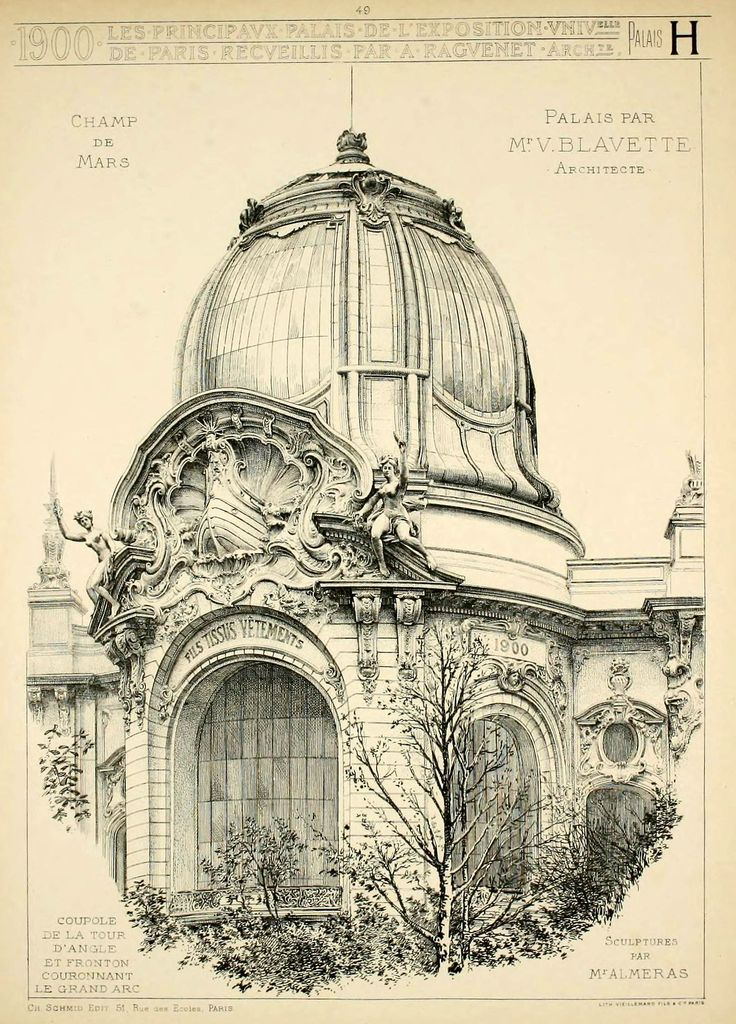 Detail of a domed pavilion entrance of the palaces on the Champ de Mars for the 1900 Exposition Universelle, Paris http://www.pinterest.com/chengyuanchieh/illustration-architecture/: