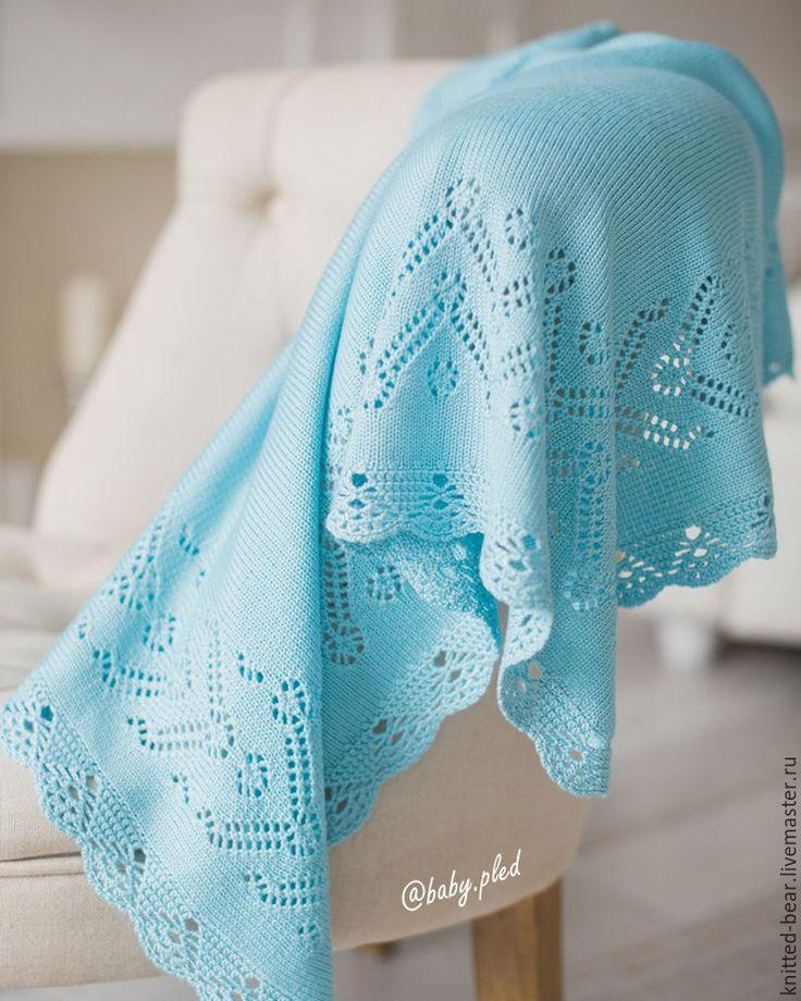 Купить В НАЛИЧИИ: вязаный детский плед - голубой, плед на выписку, плед для новорожденного