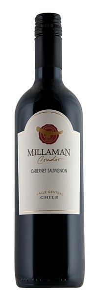 Millaman Condor Cabt Sauv 2010 - An ideal choice for a party or function, this is a classic Chilean cabernet with generous aromas, good weight and an attractive flavour profile of blackcurrant jam, chocolate and capsicum. Juicy, long finish.  100% cabernet sauvignon