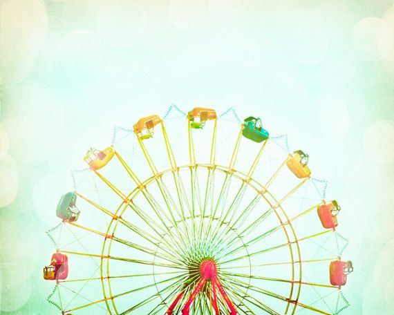"""[Nursery Photography]- ferris wheel circus - carnival photo pastel pale - red yellow green kids room - 8x10 Photograph, """"Round and Round"""". $30.00, via Etsy."""