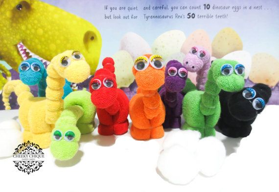 Washcloth Dinosaurs - Diaper cake, Dinosaur Birthday Favors, Dinosaur Baby Shower Favors, Decoration, Centerpiece, Basket Stuffer, Dinosaur