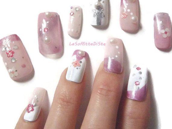 3d unghie rosa giapponese finte rosa pastel di LaSoffittaDiSte