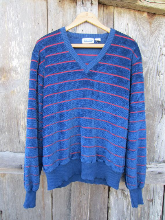 80s Blue Striped Terrycloth Sweater by Cranbrook, Men's M // Navy Blue Office Knit Sweater // Vintage Winter Jumper