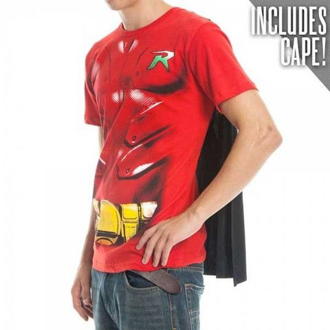 Dc Comics Robin Costume Men 39 S Red Caped T Shirt Adult