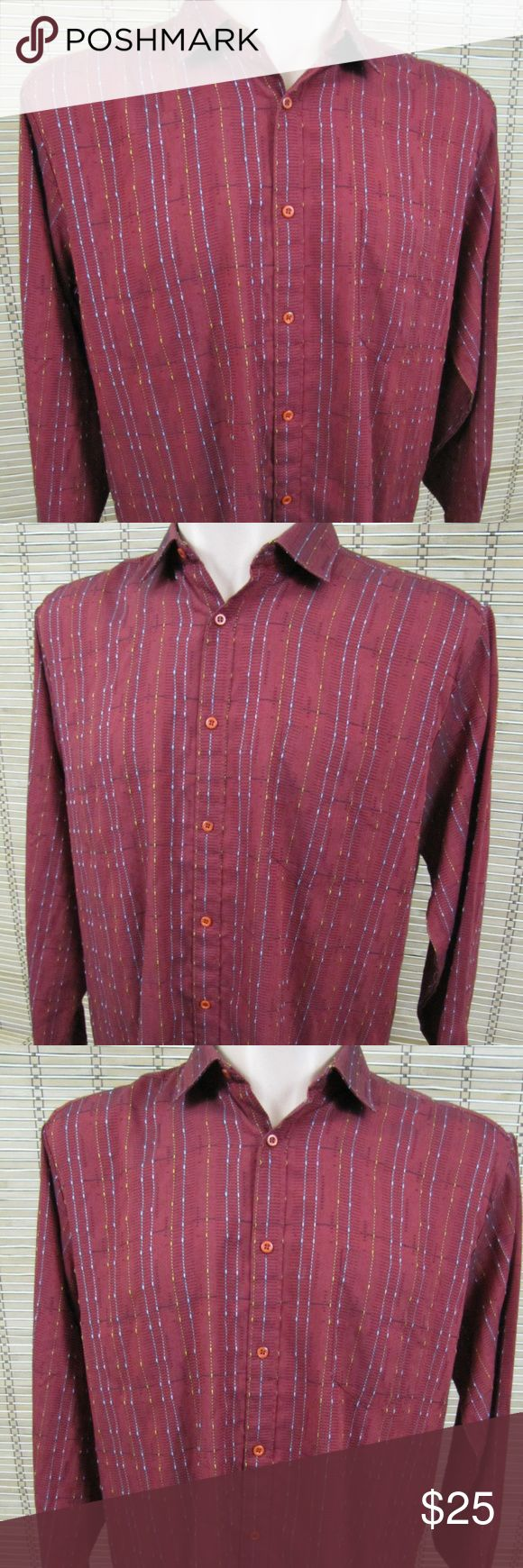 """Bugatchi Uomo Mens Sz L Red Textured Stitch Shirt Inventory # C007  Bugatchi Uomo  This item is in Very Good Condition! There are NO Major Flaws with this item, and is Free and Clear Of any Noticeable Stains, Rips, Tears or Pulls of fabric.  Dark Red Striped, Long Sleeve, Button Front, Textured Yellow/Blue Raised Stitching   Cotton Blend  Dark Red – See Photos  Size: Men's Sz L  Pit to Pit (Across Chest):  22""""  Length (Top of Collar to Hem):  32""""  Sleeves (Shoulder to Cuffs):  25"""" Bugatchi…"""