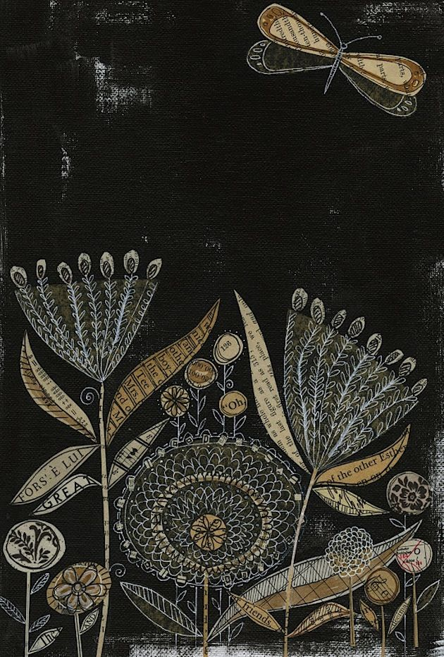 Susan Black makes wonderful collages, mixing paint and re-used material of all sorts. Like this piece, which I found on her blog 29 Black Street. If you like what you see, you can buy her work at herEtsy shop.