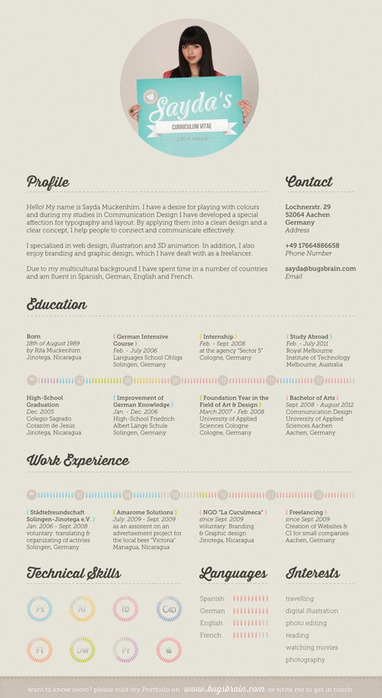 59 best Creative Resumes images on Pinterest Creative resume - personal resume website example